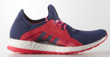 Adidas Pure Boost X Running in red and raw purple with floating arch